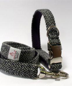 Chevrons Gris Harris Tweed Collier pour chien Luxe Gris