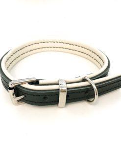 vert de luxe et crème rembourrée collier pour chien de luxe en cuir