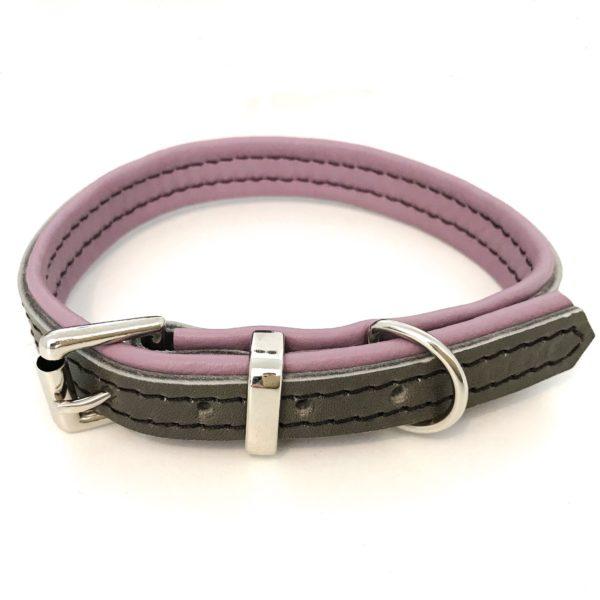 Gris et rose dombre collier pour chien de luxe en cuir, luxe