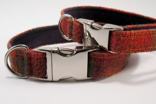 Orange Collier pour chien. Harris Tweed.Luxe.