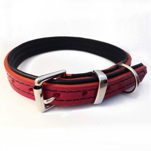 Rouge et noir rembourrée collier pour chien en cuir
