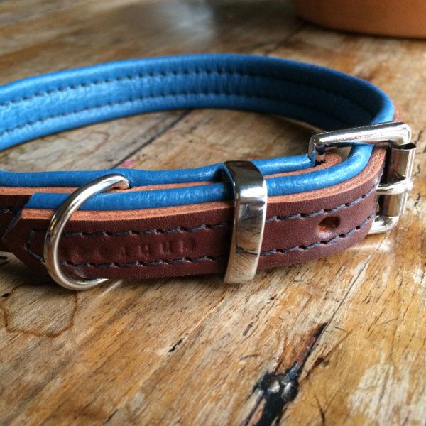 marron et bleu collier pour chien de luxe en cuir