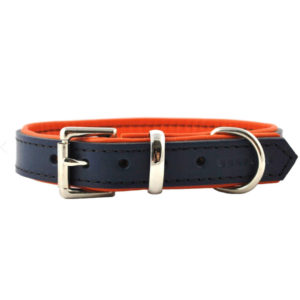 "Marine et orange Collier pour chien de luxe en cuir rembourré ""Navy and Orange"" Marine et orange"