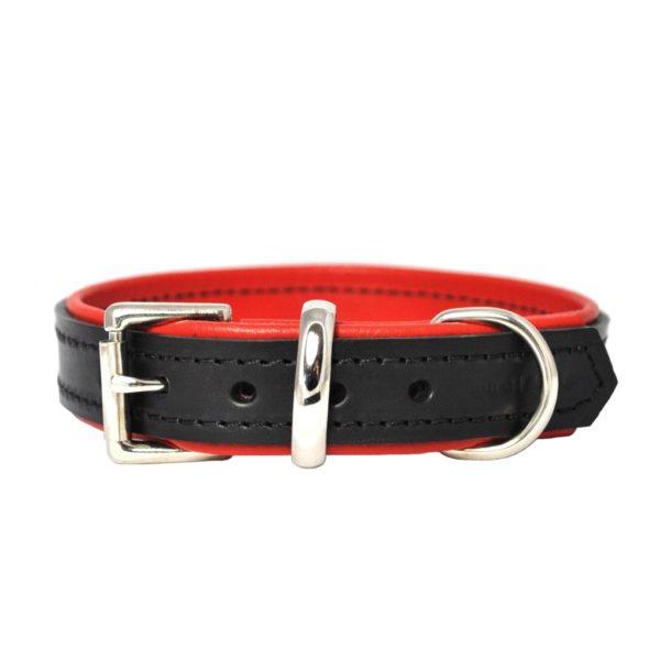Noir et rouge collier pour chien de luxe en cuir